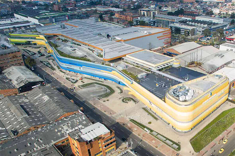 Aerial photography of Plaza Central Shopping Center commercial project in Bogota