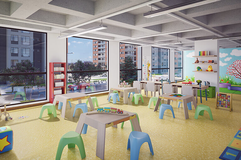 Children's playroom for the Urban Salitre residential project in Bogota