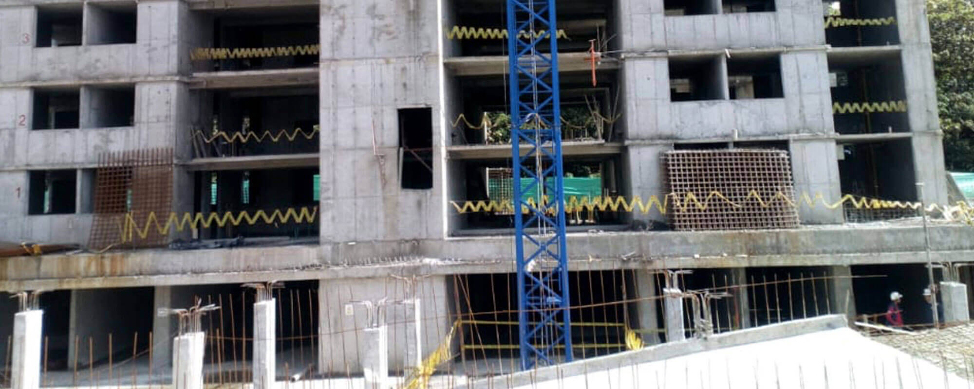 Close-up apartment tower at Ocobo residential project in Ibague December 2018