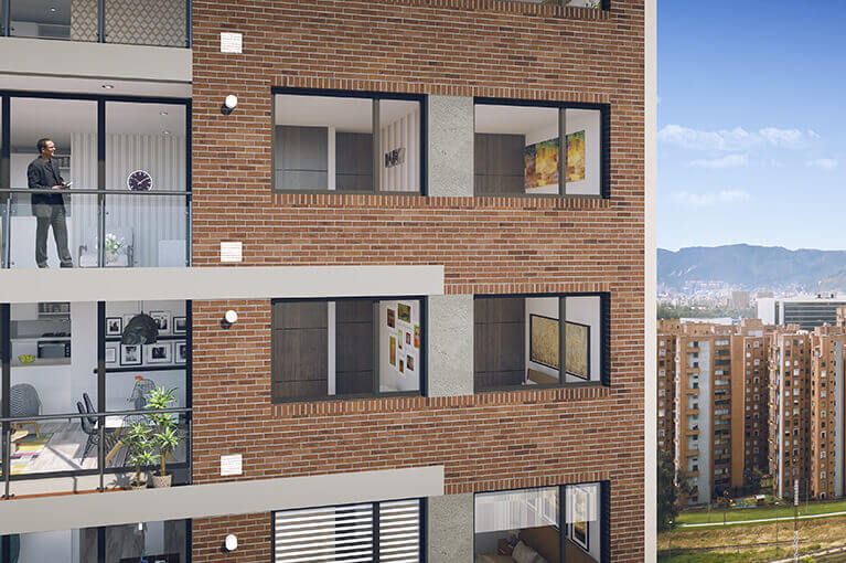 Close-up at apartments at Urban Salitre residential project in Bogota