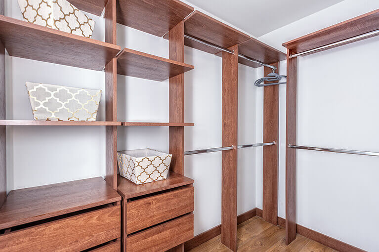 Closet in 77m² apartment bedroom at Urban Salitre residential project in Bogota