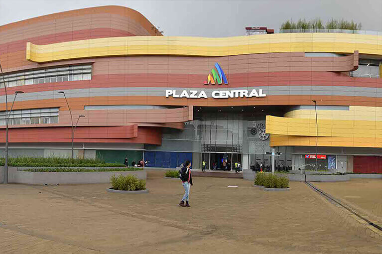 Facade of Plaza Central Shopping Center commercial project in Bogota