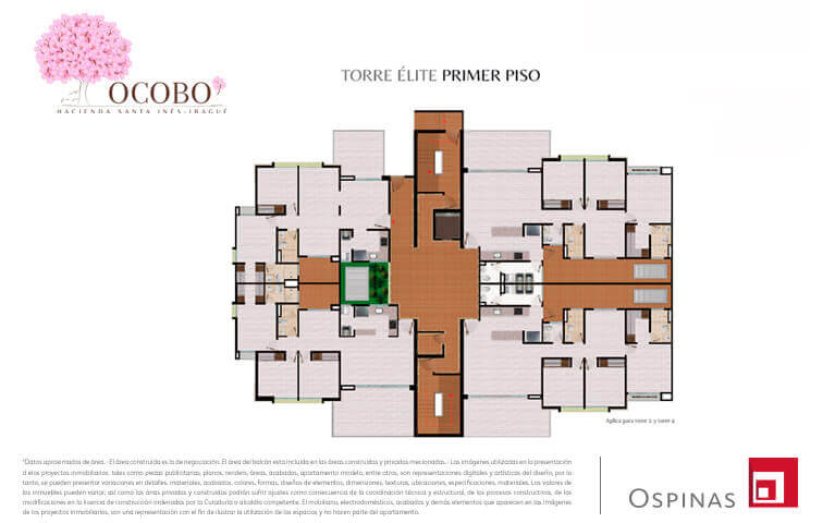 First floor plan of the elite tower at Ocobo Hacienda Santa Inés residential project in Ibague
