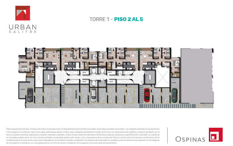 Floor plan 2 to 5 in tower 1 at Urban Salitre residential project in Bogota