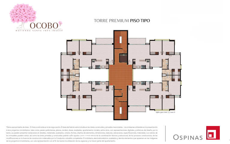 Floor plan of the premium tower at Ocobo Hacienda Santa Inés residential project in Ibague