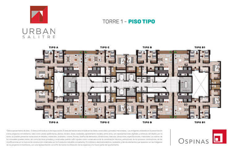 Floor plan type in tower 1 at Urban Salitre residential project in Bogota