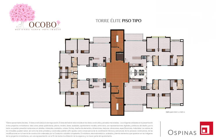 Floor plan type of the elite tower at Ocobo Hacienda Santa Inés residential project in Ibague
