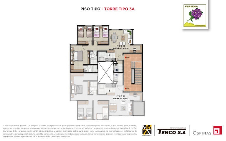 Floor plan type of tower 3a of the Verbena Ciudad Verde residential project in Soacha