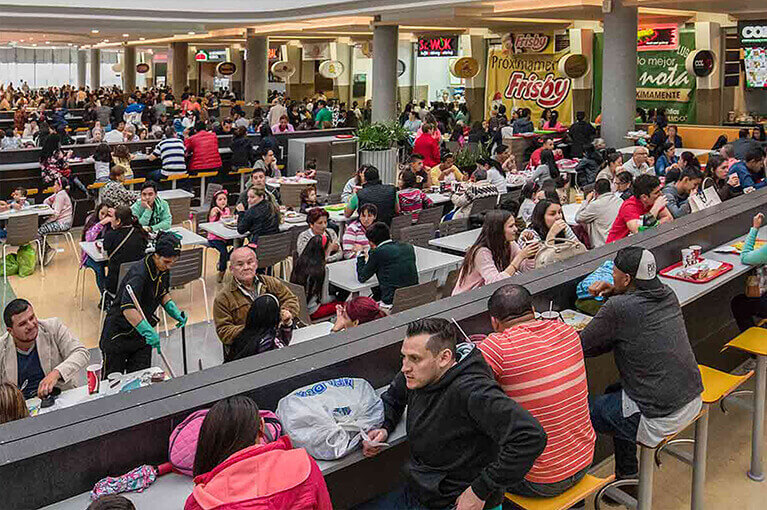 Food court at Plaza Central Shopping Center commercial project in Bogota