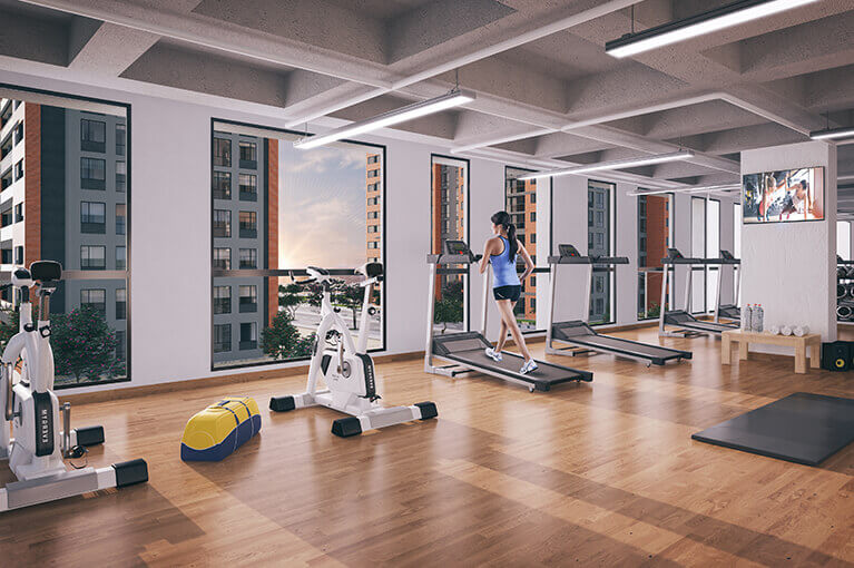 Gym, machines and weights for the Urban Salitre residential project in Bogota