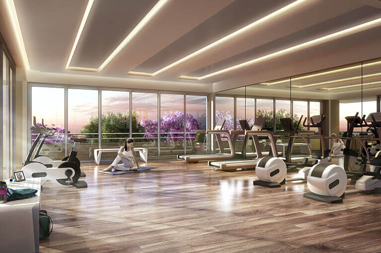 Gym machines at Ocobo Hacienda Santa Inés residential project in Ibague