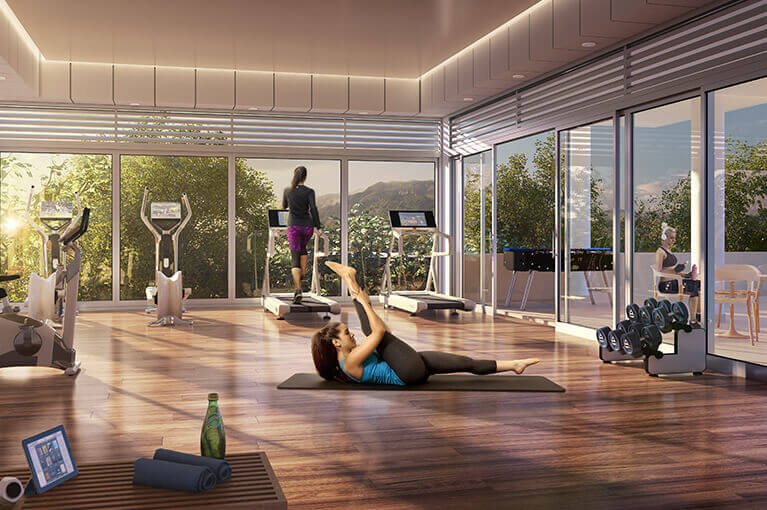 Gym room at Malaca Hacienda Santa Inés residential project in Ibague