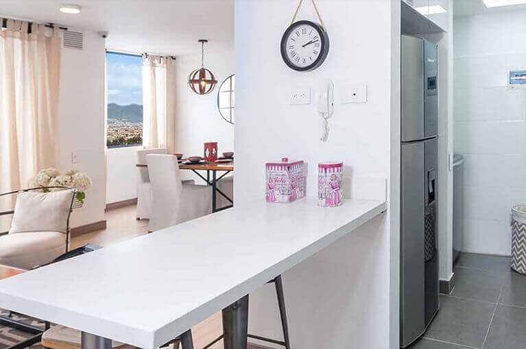 Kitchen bench in 67m² apartment at Urban Salitre residential project in Bogota