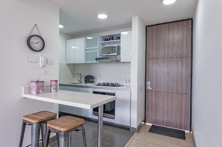 Kitchen in apartment of 67m² at Urban Salitreresidential project in Bogota