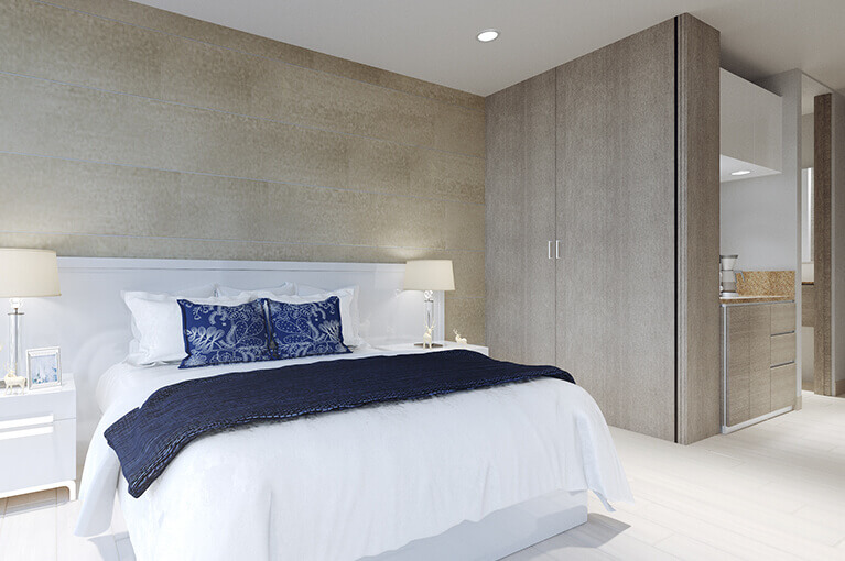 Main bedroom in apartment at Vivanti Mar residential project in Cartagena