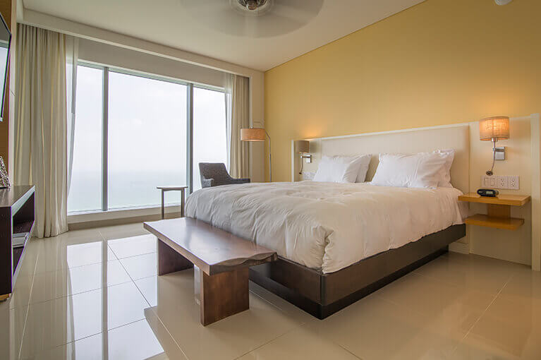 Master bedroom with double bed at Hyatt Regency Cartagena residential project