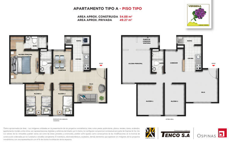Plan apartment type A floor type of 54m² at Verbena Ciudad Verde residential project in Soacha