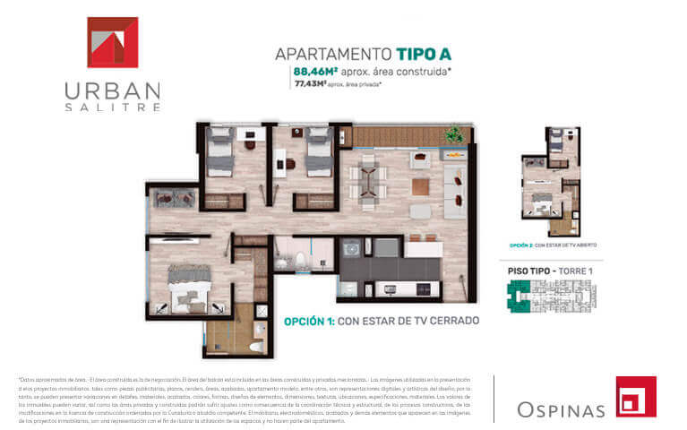 Plan apartment type A of 88m² at Urban Salitre residential project in Bogota