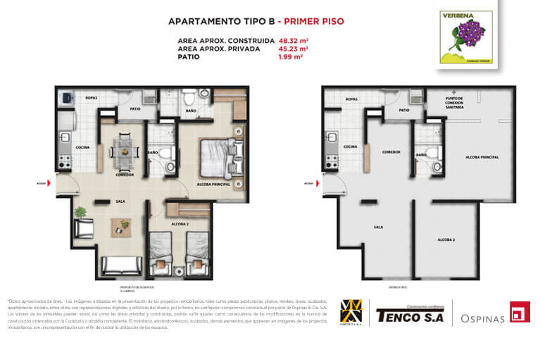 Plan apartment type B first floor of 48m² at Verbena Ciudad Verde residential project in Soacha