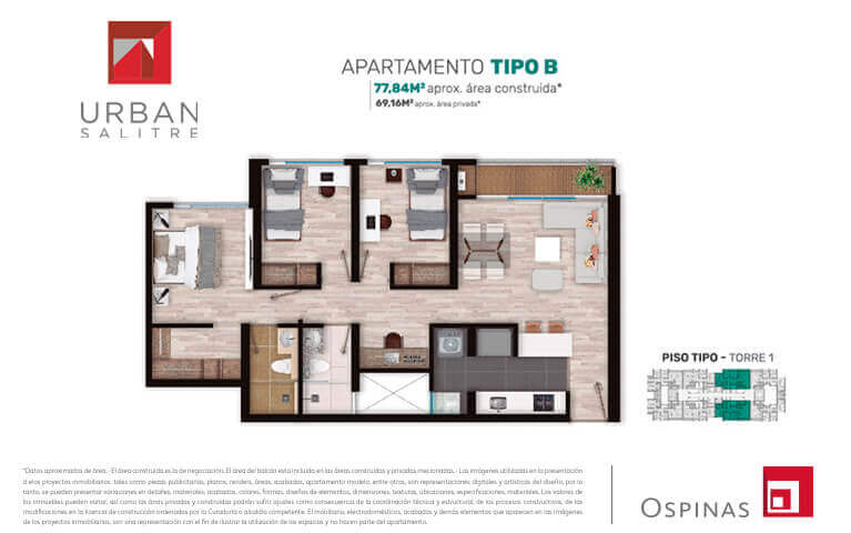 Plan apartment type B of 77m² at Urban Salitre residential project in Bogota
