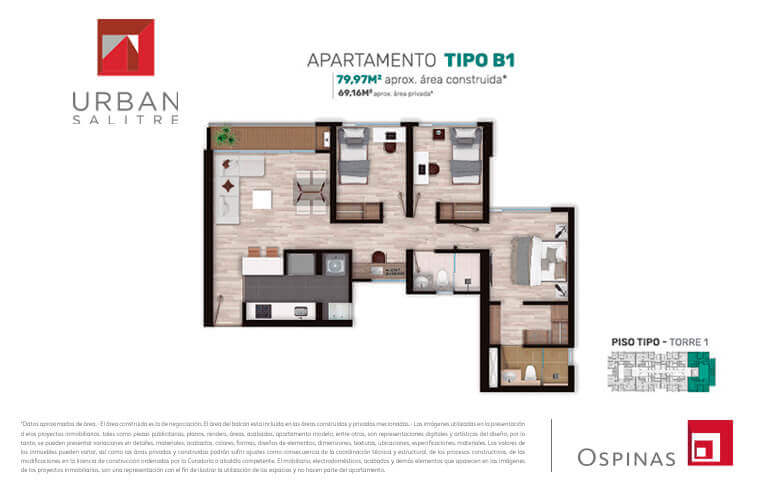 Plan apartment type B1 of 79m² at Urban Salitre residential project in Bogota