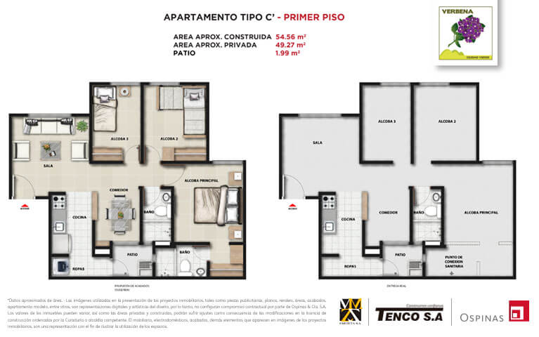 Plan apartment type C first floor of 54m² at Verbena Ciudad Verde residential project in Soacha
