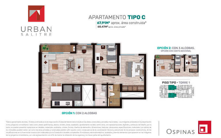 Plan apartment type C of 67m² at Urban Salitre residential project in Bogota