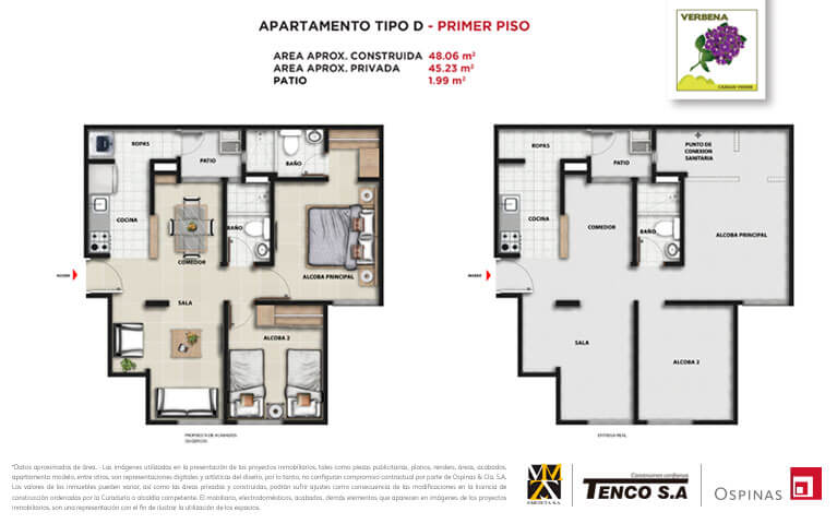 Plan apartment type D first floor of 48m² at Verbena Ciudad Verde residential project in Soacha