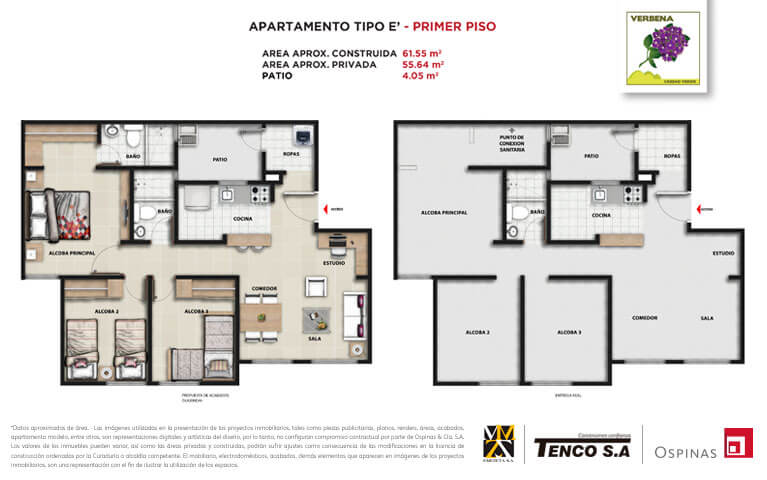 Plan apartment type E first floor of 61m² at Verbena Ciudad Verde residential project in Soacha