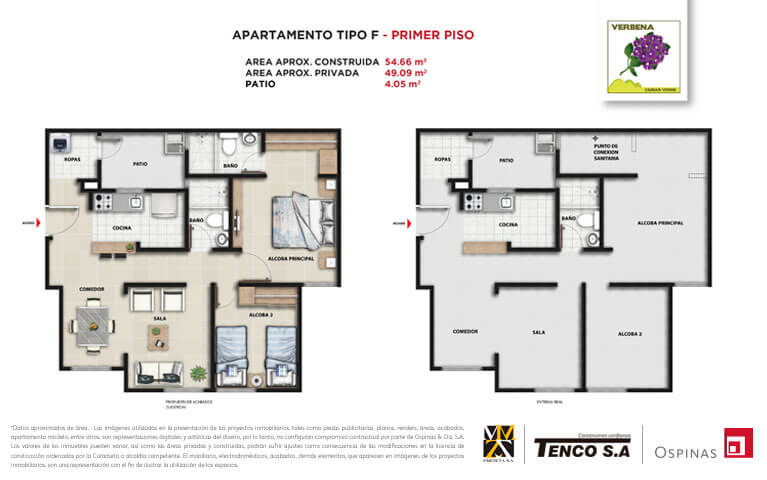 Plan apartment type F first floor of 54m² at Verbena Ciudad Verde residential project in Soacha