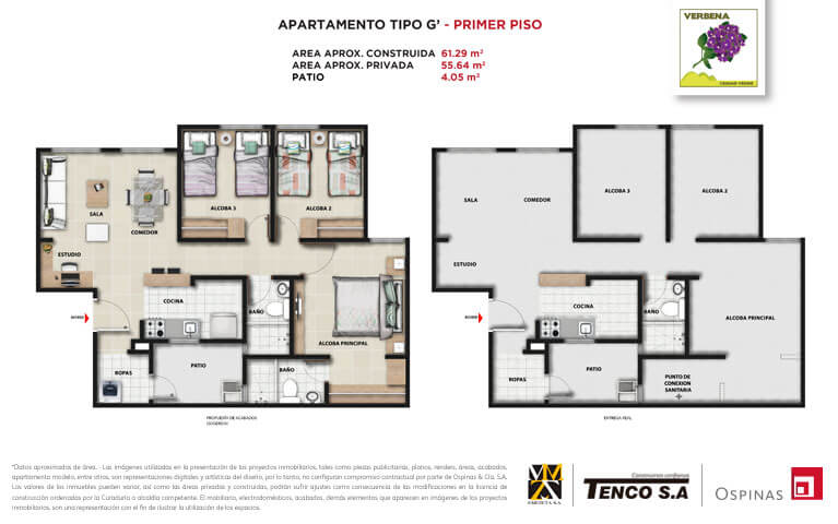 Plan apartment type G first floor of 61m² at Verbena Ciudad Verde residential project in Soacha