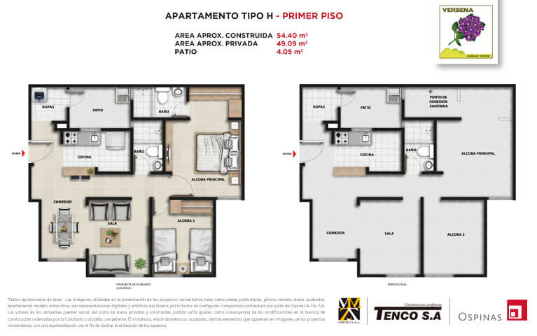 Plan apartment type H first floor of 54m² at Verbena Ciudad Verde residential project in Soacha