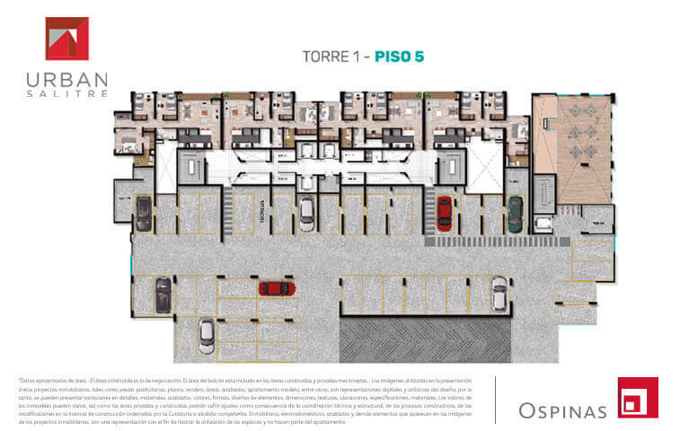 Plan at 5th floor in tower 1 at Urban Salitre residential project in Bogota