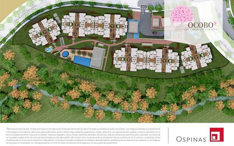 Plan of the exterior floor of the residential project Ocobo Hacienda Santa Inés in Ibague