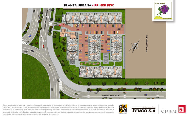 Plan of the first floor of the urban plant of the Verbena Ciudad Verde residential project in Soacha