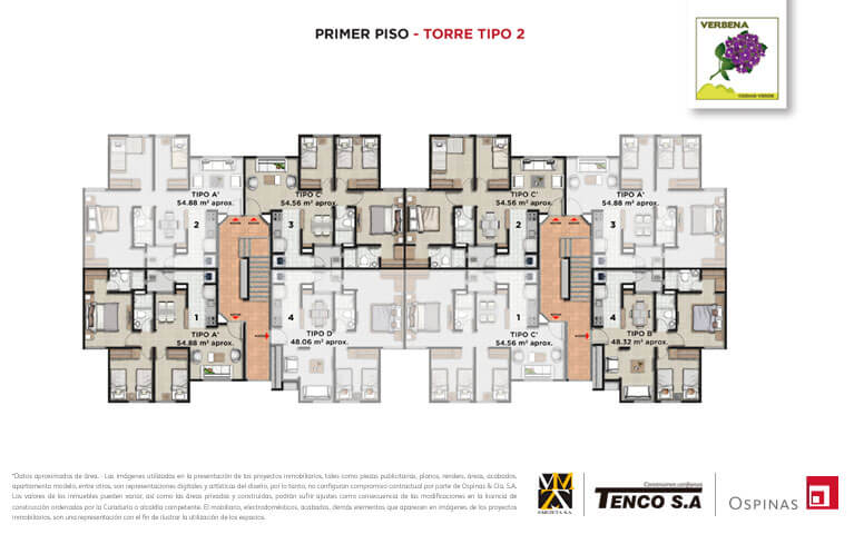 Plan of the first floor of tower 2 at Verbena Ciudad Verde residential project in Soacha