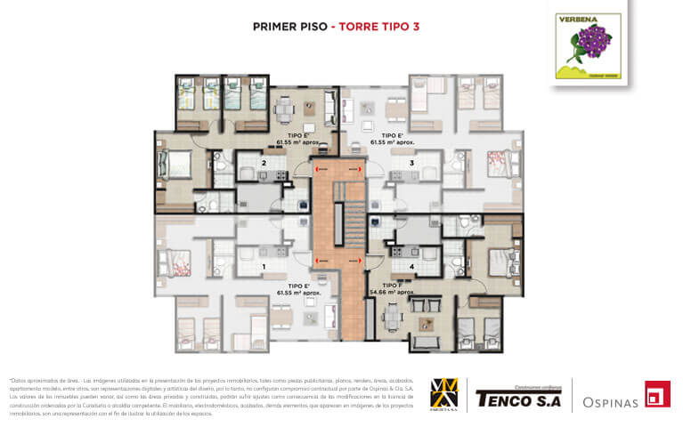 Plan of the first floor of tower 3 at Verbena Ciudad Verde residential project in Soacha