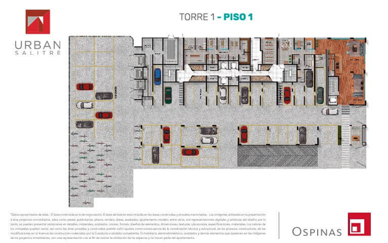 Plane at first floor in tower 1 at Urban Salitre residential project in Bogota