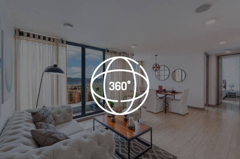 Video 360 at 67m² model apartment at Urban Salitre residential project in Bogota