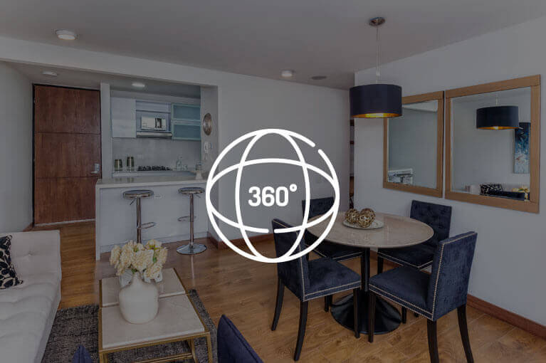 Video 360 at 77m² model apartment at Urban Salitre residential project in Bogota