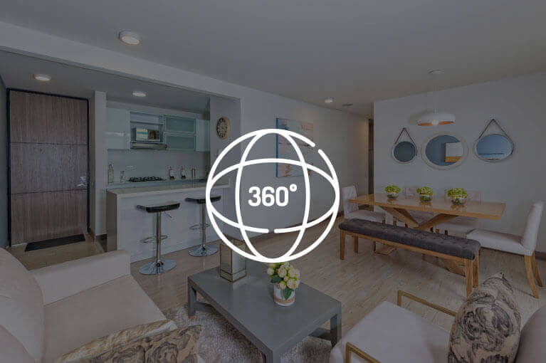 Video 360 at 88m² model apartment at Urban Salitre residential project in Bogota