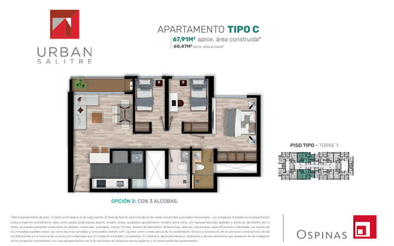 Plan apartament type C2 of 67m² at Urban Salitre residential project in Bogota