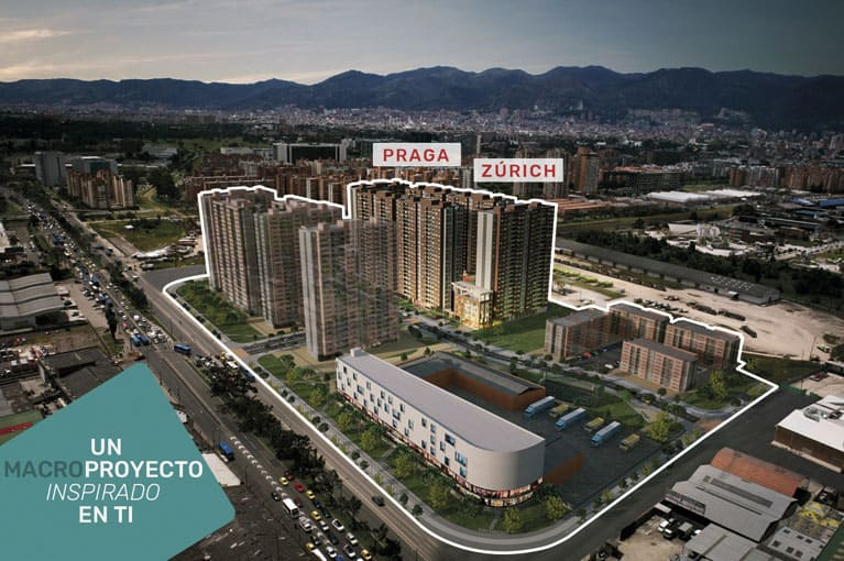 Aerial shot at towers at Urban Salitre residential project in Bogota
