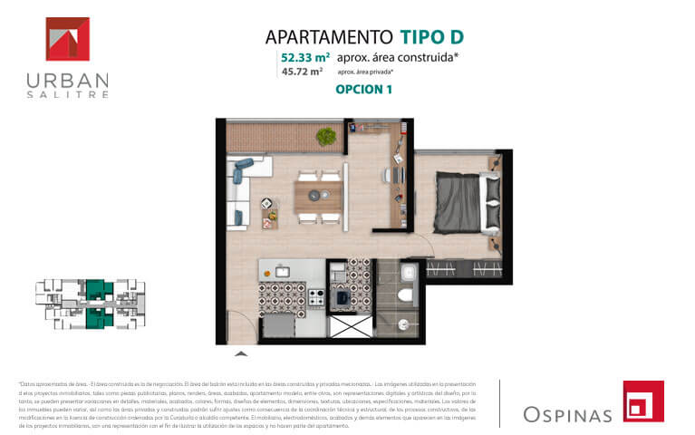Plan type D1 apartment of 52m² at new residential project Urban Salitre in Bogota