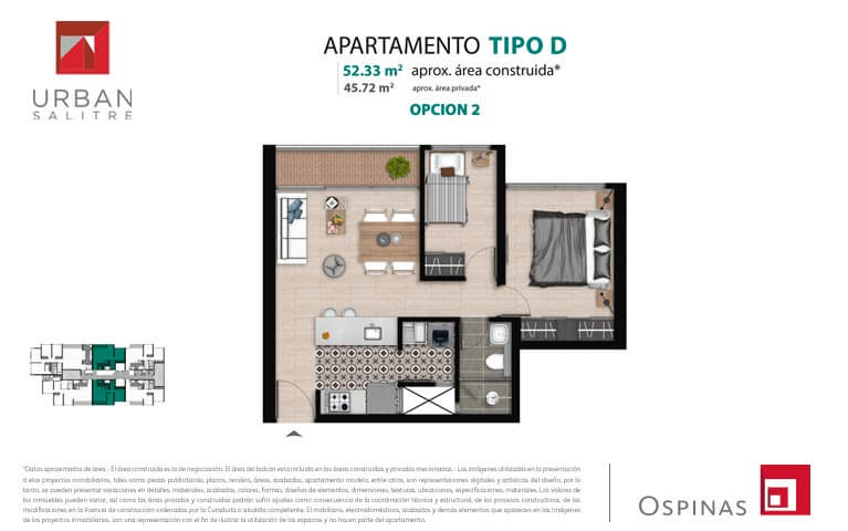 Plan type D2 apartment of 52m² at new residential apartment project Urban Salitre in Bogota