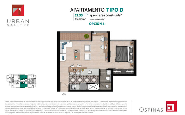Plan type D3 apartment of 52m² at new residential apartment project Urban Salitre in Bogota