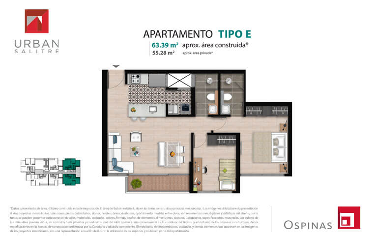Plan type E apartment of 63m² at new residential apartment project Urban Salitre in Bogota
