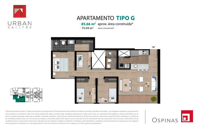 Plan type G apartment of 85m² at new residential apartment project Urban Salitre in Bogota
