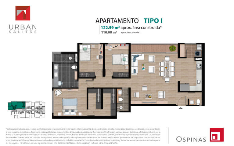 Plan type I apartment of 122m² at new residential apartment project Urban Salitre in Bogota