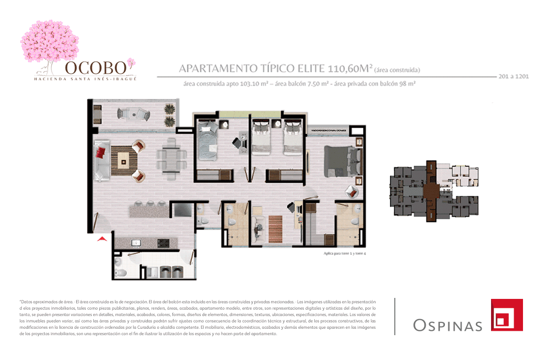 Plan typical elite apartment of 110m² at Ocobo Hacienda Santa Inés residential project in Ibague.jpg